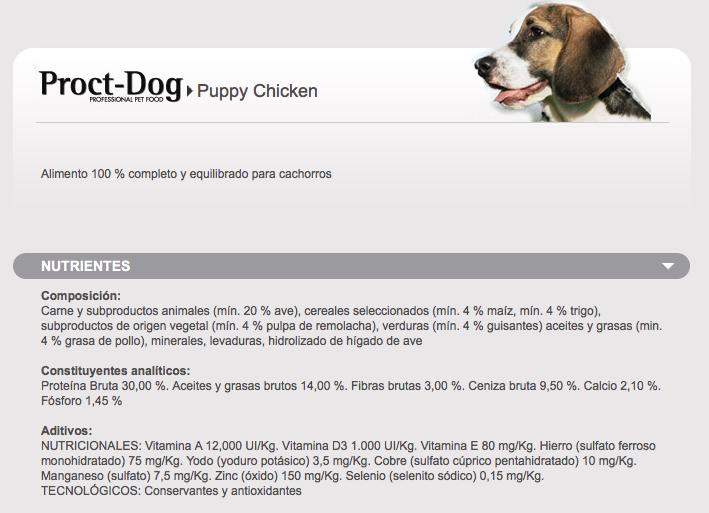 Pienso visan proct dog puppy chicken armeria m y m - Pienso para perros de caza ...